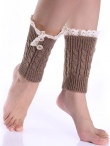 Lace Button Cable Knitted Boot Cuffs