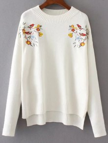 Embroidered Loose High-Low Sweater - White