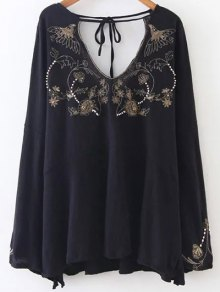 Embroidered Beading Flowy Blouse