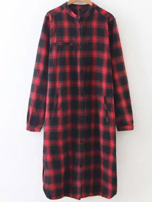 Checked Long Sleeves Flannel Shirt Dress