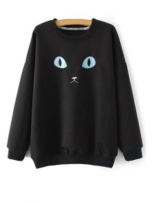 Eye Embroidered Crew Neck Sweatshirt