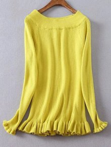 Ribbed Boat Neck Frilled Jumper - Yellow Xl