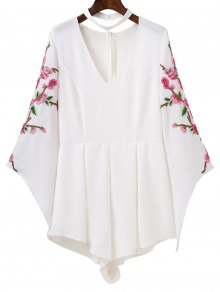 Embroidered Sleeve Choker Romper