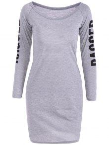 Back Cutout Graphic Bodycon Dress - Gray Xl