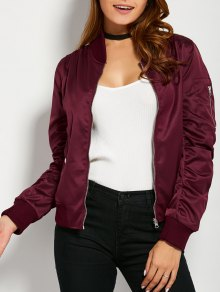 Pockets Bomber Jacket - Burgundy L