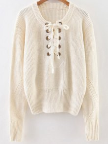 Crew Neck Lace Up Ribbed Jumper