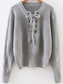 Crew Neck Lace Up Ribbed Jumper - Gray