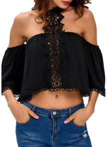 Cropped Choker Off The Shoulder Blouse Belly Shirts - Black M