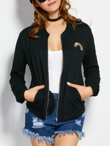 Zip Up Rainbow Bomber Jacket