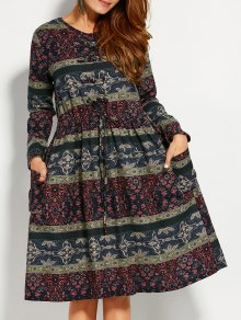 Retro Print V Neck Long Sleeve A Line Dress