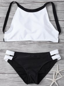 High Neck Padded Color Block Bikini Bathing Suit - White And Black