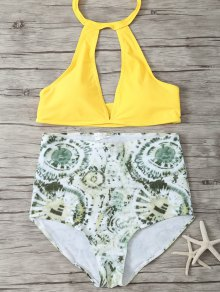 High Rise Halter Plunge Bikini - Green And Yellow L