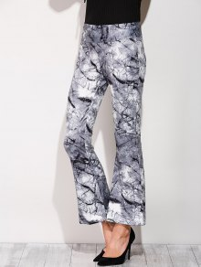 Slimming Boot Cut Pants With Chinese Painting
