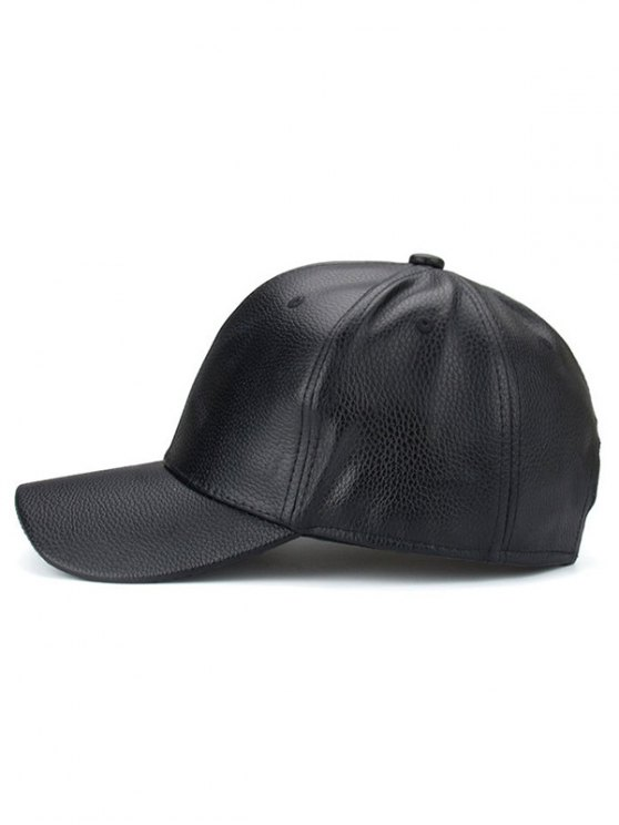 Outdoor Sunshade PU Leather Baseball Hat - BLACK  Mobile