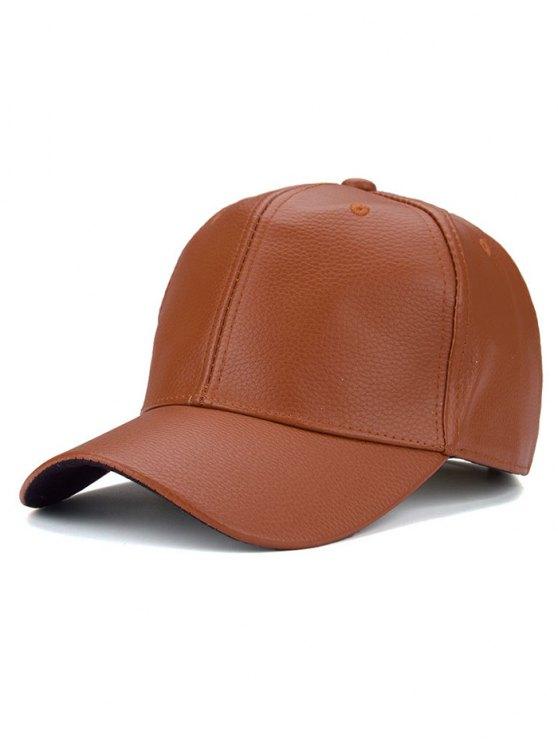 Outdoor Sunshade PU Leather Baseball Hat - ORANGE YELLOW  Mobile