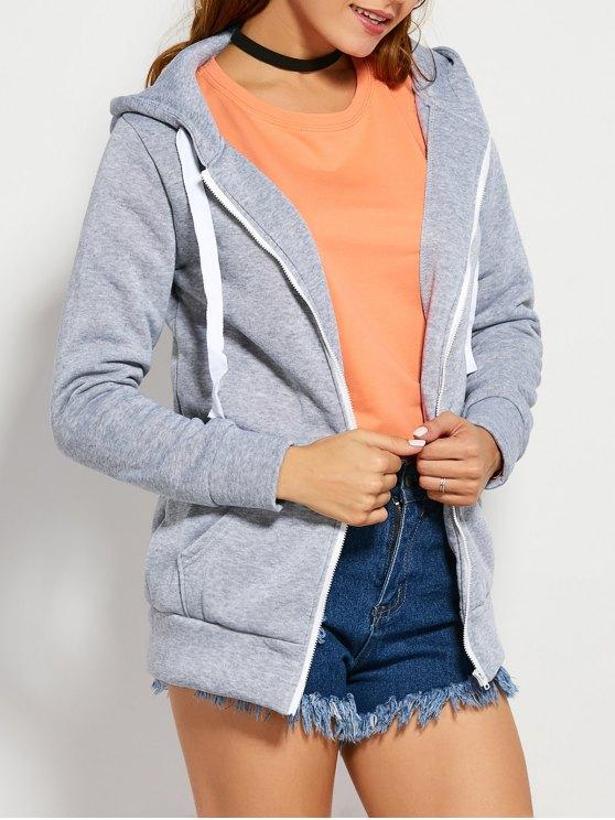 Con cordón cremallera sudadera con capucha con bolsillo - Gris Claro M