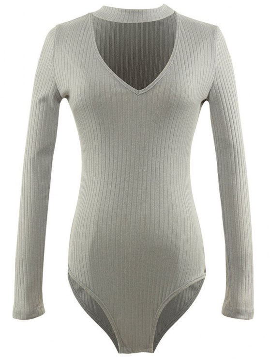 best Cut Out Fitted Choker Bodysuit - GRAY S
