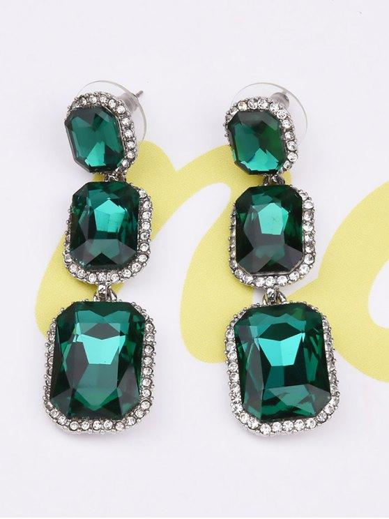 Boucles d'oreilles en strass géométrique en gemme fausse - Vert