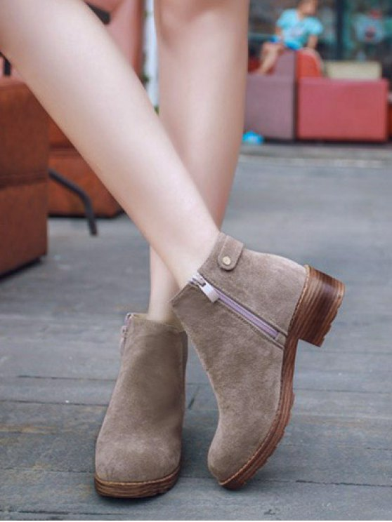 Elastic Band Metal Zipper Ankle Boots - CAMEL 38 Mobile