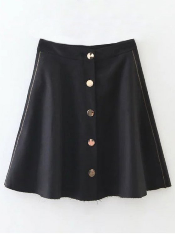 Wool Blend Flounce Mini Skirt - BLACK S Mobile