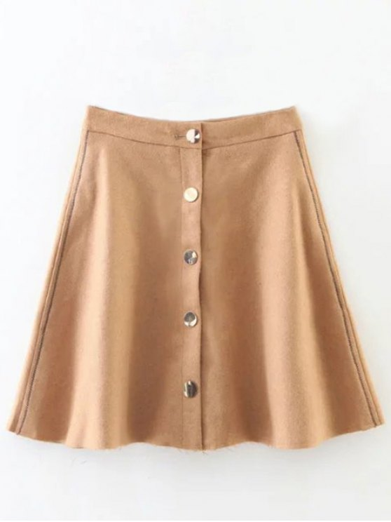new Wool Blend Flounce Mini Skirt - KHAKI L