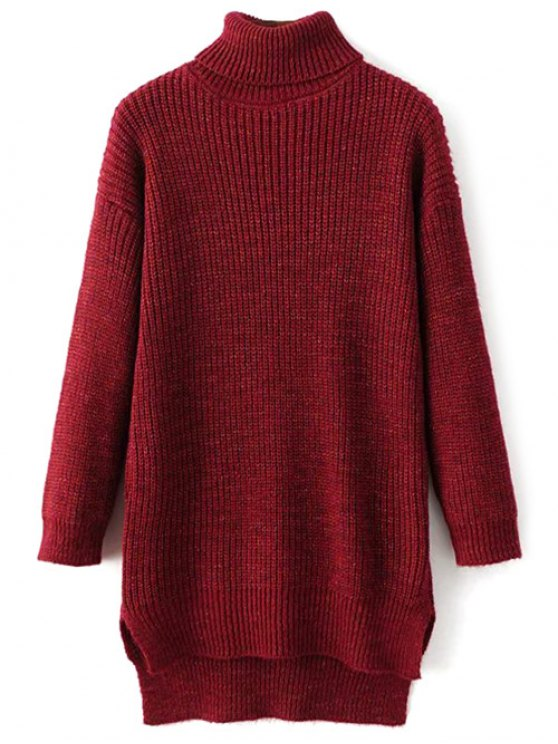 Side Slit Turtleneck Heather Sweater - WINE RED ONE SIZE Mobile
