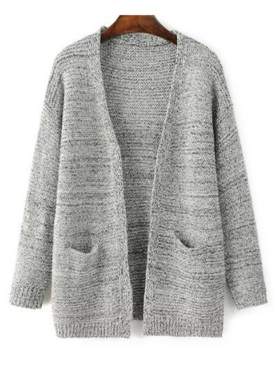 women's Front Open Cardigan with Pockets - GRAY ONE SIZE
