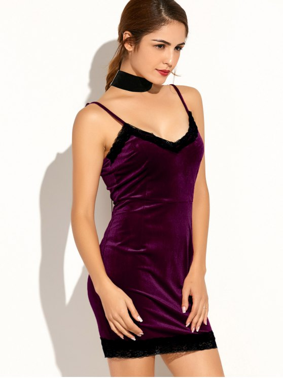 ladies Lace Spliced Cami Bodycon Party Dress - PURPLISH RED L