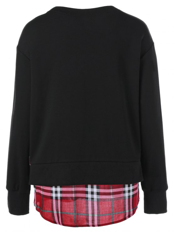 Plaid Patchwork Side Slit Sweatshirt - BLACK L Mobile