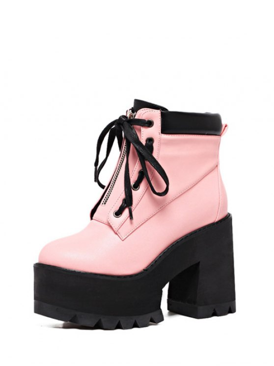 Platform Chunky Heel Combat Boots - PINK 39 Mobile