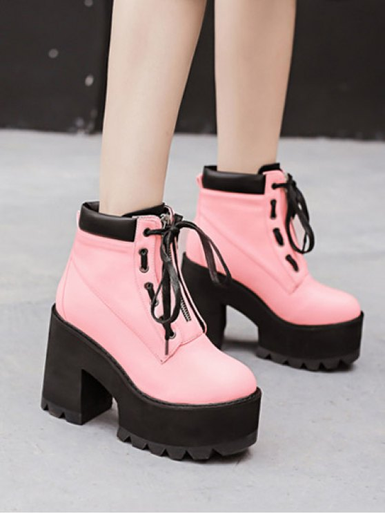 Platform Chunky Heel Combat Boots - PINK 37 Mobile