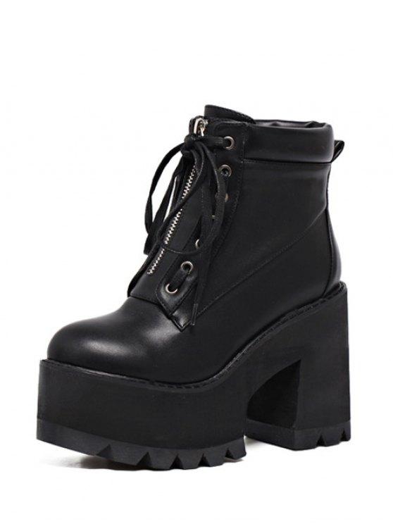 Platform Chunky Heel Combat Boots - BLACK 38 Mobile