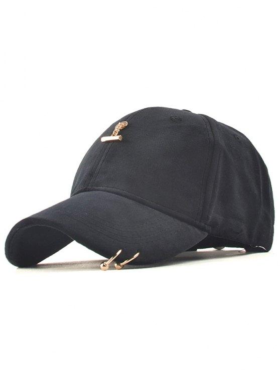 casquette Baseball de sport plein air avec anneau en fer - Noir