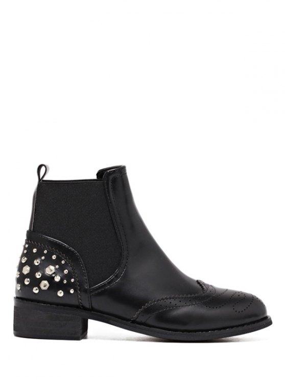 sale Engraving Rivet PU Leather Short Boots - BLACK 37