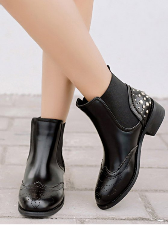 Engraving Rivet PU Leather Short Boots - BLACK 37 Mobile