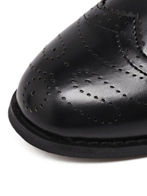 Engraving Rivet PU Leather Short Boots - BLACK 37 Mobile