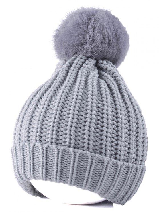 bonnet tricoté avec boule pompom en fourrure au dessus - Gris