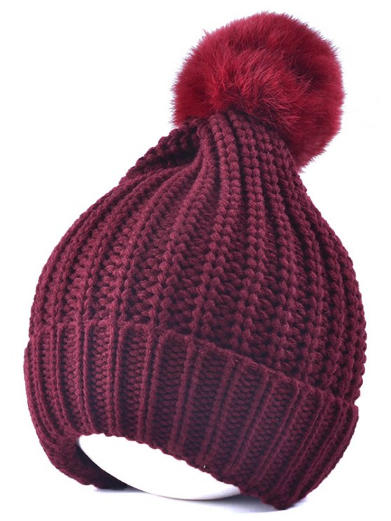 sale Handmade Crochet Pompom Beanie Hat - WINE RED