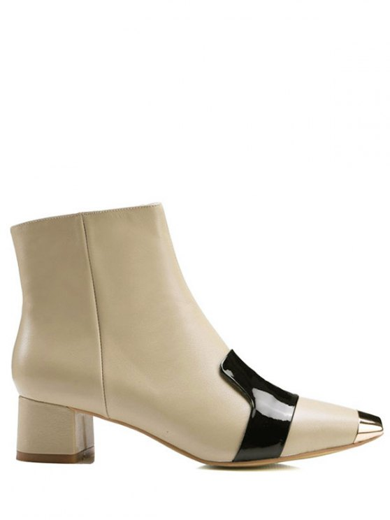 Metal Toe Splicing Zipper Ankle Boots - PALOMINO 37 Mobile