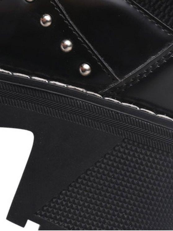 Rivet Buckle Strap Platform Boots - BLACK 39 Mobile