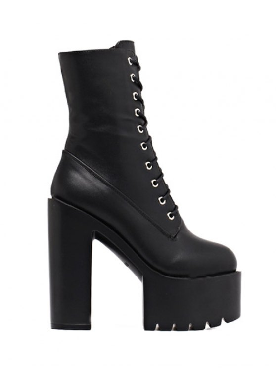 Fold Down High Heel Combat Boots BLACK: Boots 39 | ZAFUL