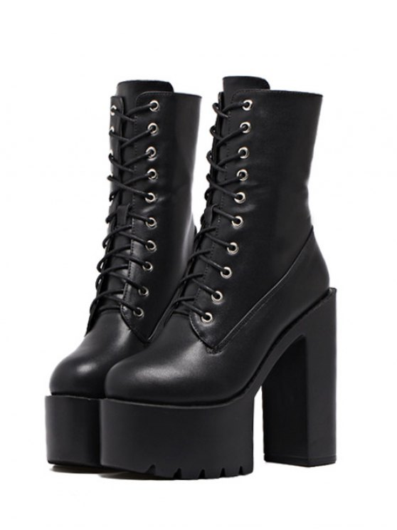 Fold Down High Heel Combat Boots BLACK: Boots | ZAFUL