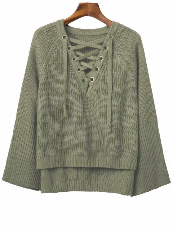 latest Lace Up V Neck Long Sleeve Sweater - ARMY GREEN ONE SIZE