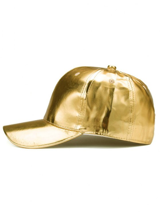 Outdoor Smooth PU Leather Baseball Hat - GOLDEN  Mobile