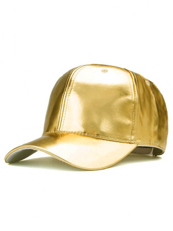 women Outdoor Smooth PU Leather Baseball Hat - GOLDEN