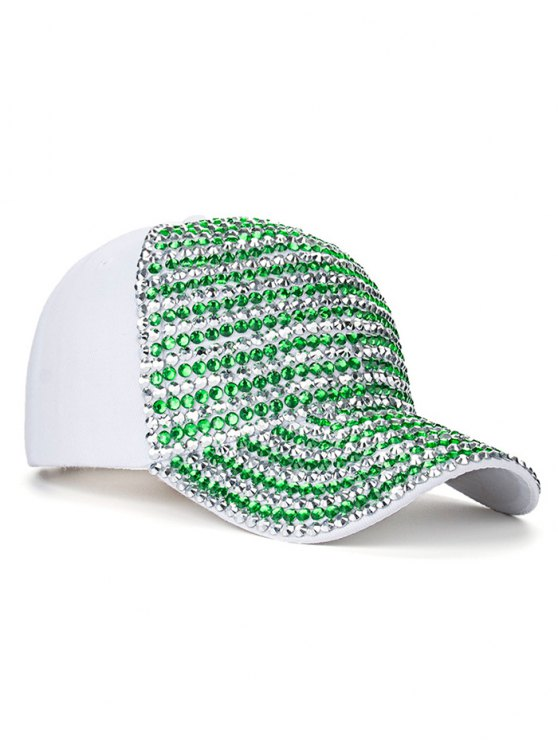 Casual Rhinestone Snapback Baseball Hat - WHITE  Mobile