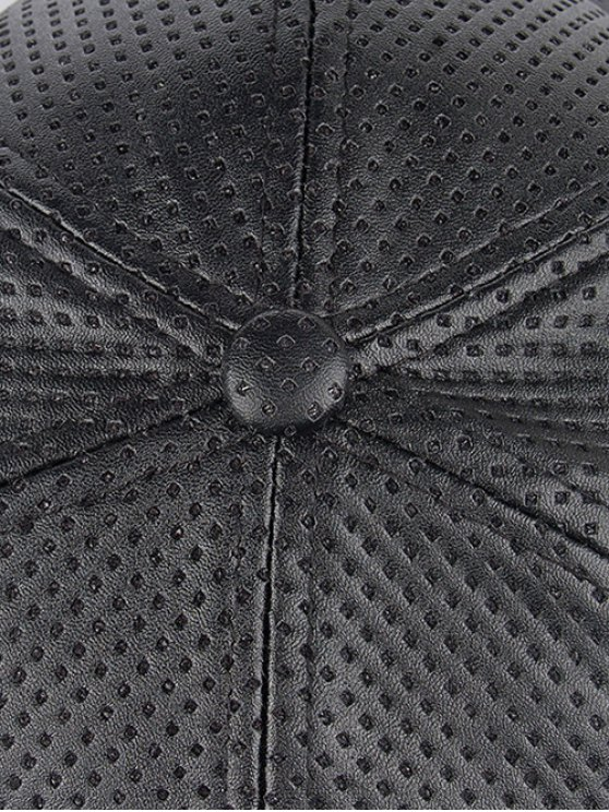 Casual Holes Design PU Leather Baseball Hat - BLACK  Mobile