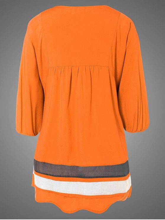 Plus Size Embroidered Bib Tunic Dress - ORANGE ONE SIZE Mobile
