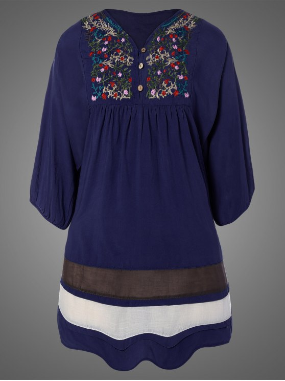 Plus Size Embroidered Bib Tunic Dress - PURPLISH BLUE ONE SIZE Mobile