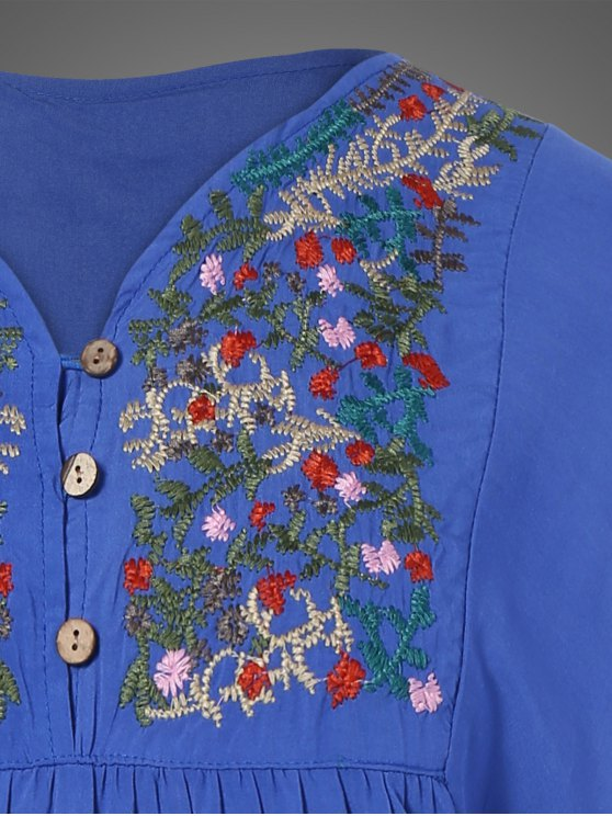 Plus Size Embroidered Bib Tunic Dress - DENIM BLUE ONE SIZE Mobile